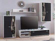 Mueble TV GARETT con compartimentos - Color: negro