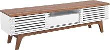 Mueble TV madera oscura/blanco DETROIT