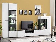 Mueble TV TIMEO con compartimentos - MDF - LEDs -