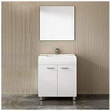 Mueble ULL con lavabo y espejo BLANCO 60CM