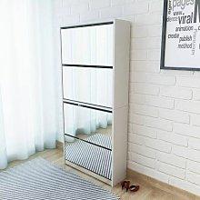 mueble zapatero 4 cajones con espejo blanco