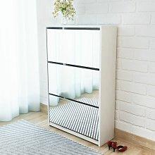 Mueble zapatero blanco 3 compartimentos con espejo