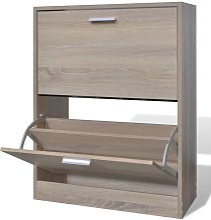 Mueble zapatero color roble con 2 compartimentos -