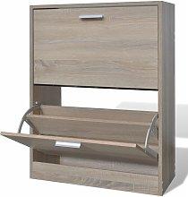 Mueble zapatero color roble con 2 compartimentos