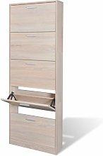 Mueble zapatero color roble con 5 compartimentos