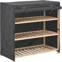 Mueble zapatero con funda de tela gris 79x40x80cm