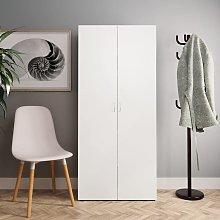 Mueble zapatero de aglomerado blanco 80x35,5x180