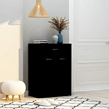Mueble zapatero de aglomerado negro 60x35x84 cm -