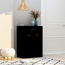 Mueble zapatero de aglomerado negro 60x35x84 cm