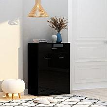 Mueble zapatero de aglomerado negro brillante