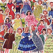 Muñeca de papel retro linda chica niño princesa