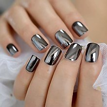 MXLYR Uñas postizas Espejo reflectante gris