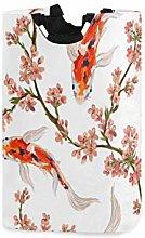 N\A Cesto de Ropa, Flores japonesas Koi Fish