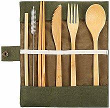Naisde Juego de cubiertos de bambú reutilizables