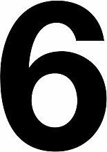 Número 6 en negro, altura 10 cm, autoadhesivo,