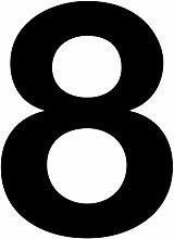 Número 8 en negro, altura 10 cm, autoadhesivo,