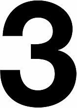 Números adhesivos nº 3 en negro, altura 10 cm,