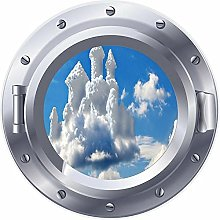NYJNN 3D ojo de buey castillo en una nube pegatina
