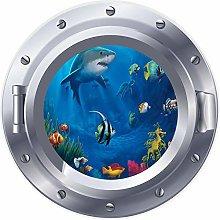 NYJNN 3D ojo de buey ventana arrecife tiburón pez