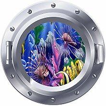 NYJNN 3D ojo de buey ventana Coral Reef pez