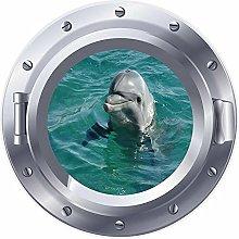 NYJNN 3D ojo de buey ventana delfín mar pez
