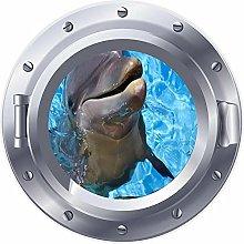 NYJNN 3D ojo de buey ventana delfín sonrisa mar