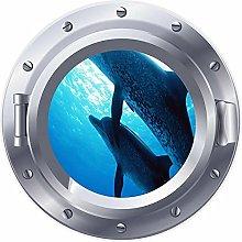 NYJNN 3D ojo de buey ventana delfines pez