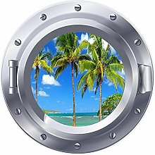 NYJNN 3D ojo de buey ventana palmeras playa mar