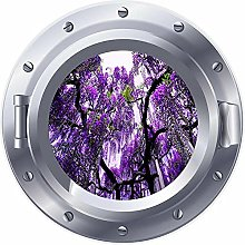 NYJNN 3D ojo de buey ventana púrpura flor árbol