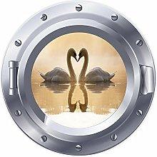 NYJNN 3D ojo de buey ventana Swan corazón amor
