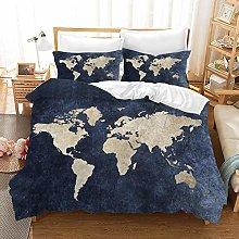 NYLIN Fundas de edredón Mapa del mundo del lecho