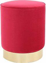 One Couture Taburete, Terciopelo, Rojo, 35cm x