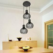 Oobest - Lámpara Colgante 3 Pantalla de Jaula de