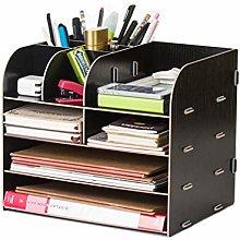 Organizador de escritorio de madera, capacidad de