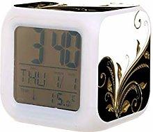 Oro negro florecer LED reloj despertador digital