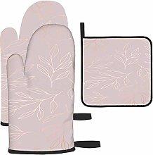 Oro rosa con ramas Los guantes y los agarraderas