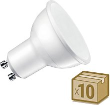 Pack 10 x Bombilla LED GU10, 100º, 7W, Blanco