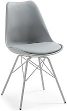 Pack 4 sillas base plata, carcasa y cojin gris