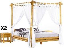 PACK dormitorio MALINDI - Cama con dosel 160 x 200