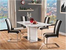 Pack mesa + 4 sillas TRINITY - Blanco y Negro