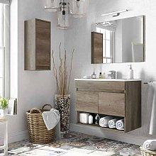 Pack Mueble baño con espejo y armario auxiliar