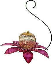 Pajarera de metal con forma de flor de pájaros,