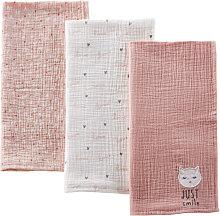 Pañales de bebé de algodón rosa, blanco y gris