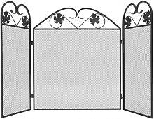 Pantalla de chimenea de 3 paneles hierro negro