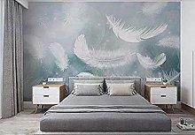 Papel pintado azul acuarela pluma blanca Pared