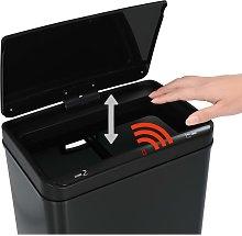 Papelera con sensor automatico de acero negro 70 L