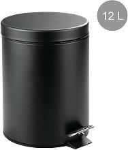 Papelera Metálica Negra con Tapa, Cubo de Basura