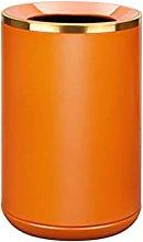 papeleras Bote de basura de metal naranja con