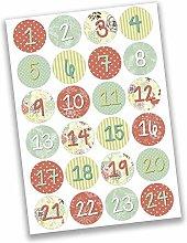 Papierdrachen 24 Pegatinas de números para