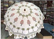 Paraguas blanco con estampado de palmera, único
